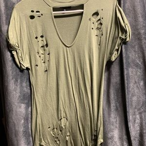 """LOVE J Olive Green """"Destroyed"""" Choker Style"""